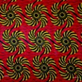 African Print Fabric Cotton Print Kinetic 44'' wide By The Yard Red Yellow Black