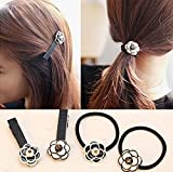 Blingys Original Black And White Camellia Hair Bands And Hair Clips/Duck Bill Clips/Flower Hair Bands/Hair Flowers/Rubber Bands/Hair Ropes (4 Piece Combo Set) With Blingys Bag