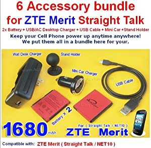 6 Accessory 2x 1680mAh AceSoft ZTE Merit Battery Mini USB Car Charger Travel Home Dock Wall AC/USB Desktop Charger Micro USB DATA Sync Cable Stand Holder for Straight Talk NET 10 ZTE Merit Phone