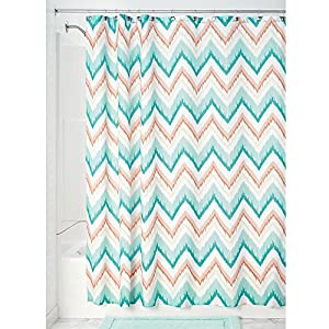 ikat chevron fabric shower curtain coral teal home kitchen