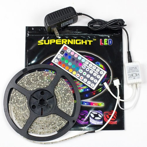 Supernight (Tm) Smd3528 Rgb 300 Led 5 M Waterproof Flexible Light Strip + 44 Key Ir Remote + 12 V 2 A Power Supply,3528 Led Strip Kit