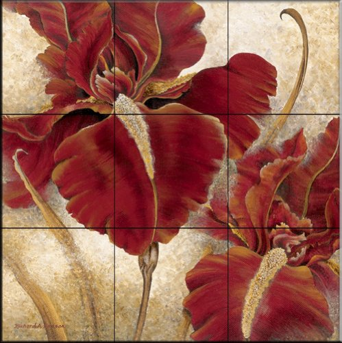 Red Iris by Richard Henson - Kitchen Backsplash / Bathroom wall Tile Mural