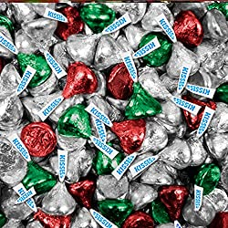 Hershey Kisses - Bulk - Red, Green and Silver - Christmas - Holiday Hershey's Milk Chocolate Kisses - 4 lbs