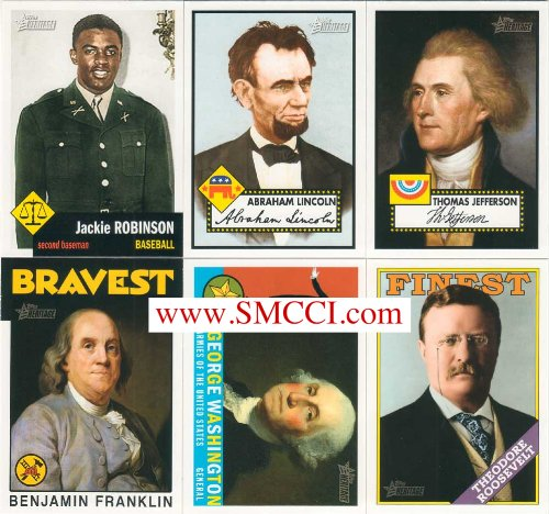 """2009 Topps American Heritage Series Complete Mint Basic 125 Card Set. Cards Are Broken Down Into Groups Highlighting Miltary Heroes, Political Heroes, Civil Rights Heroes, """"The Bravest"""", """"The Finest"""", Heroic Groups, Events and Movements, Heroes of Medicine, Humanitarian Heroes, Diplomatic Heroes and """"Pen Is Mightier Than Sword"""". A Fantastic Look At American History Featuring George Washington, John Mccain, Thomas Jefferson, Abe Lincoln, Ronald Reagan, Barack Obama, Jackie Robinson, Ben Franklin,"""