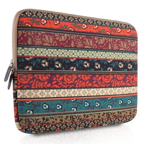 61oaVmOQsBL. SL500  PLEMO Bohemian Style Canvas Fabric 15 15.6 Inch Laptop / Notebook Computer / MacBook / MacBook Pro Sleeve Case Bag Cover, Mystic Forest