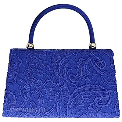 Wocharm (TM) Women's Satin Floral Lace Clutch Bag Evening Bridal Party Wedding Fashion Prom Bag Vintage UK (1# Handbag Royal Blue) - more-bags
