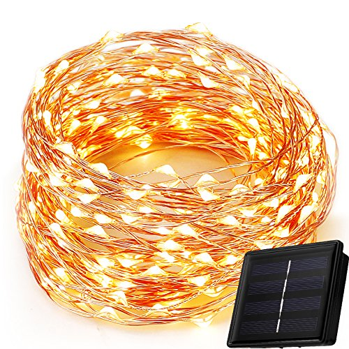 MZD8391 Solar String Lights, 8 Modes 150 LEDs 50 Feet Solar Powered String Lights Warm White, Indoor/Outdoor Copper Wire Lights, Waterproof Lights for Gardens, Patios, Parties