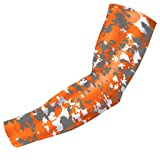 Bucwild Sports Digital Camo Compression Arm Sleeve Youth/Kids & Adult Sizes - Baseball Basketball Football Running - UV/Sun Protection Cooling Base Layer(Orange Gray - Adult Large)