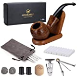 Joyoldelf Rosewood Tobacco Pipe Set with Wooden Stand, Reamer & 3-in-1 Pipe Scraper, 20 Pipe Cleaners & Pipe Filters, 2 Pipe Bits & Metal Balls, Cork Knocker, Pipe Pouch, Bonus a Gift Box (set1) (Tamaño: set1)