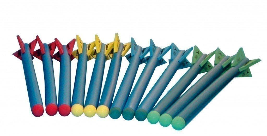 Schaumstoff-Speere 12er Set + praktischer Schutz-Trage-Beutel (Länge: 76,5 cm / Durchmesser: 5,5 cm) von SPORDAS jetzt bestellen
