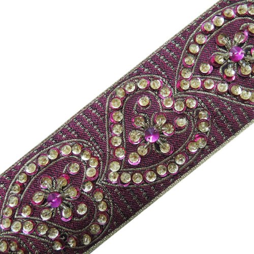 1 Yard Hand Beaded Dark Pink Sequin Border Trim Ribbon