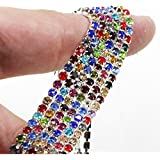 Pukido MHS.Sun SS6/8/10/12 10Yards Multicolor Claw Crystal Rhinestones Chain Gradient DIY Dense Silver Base Rhineston Chain for Decor - (Color: SS12) (Color: SS12)