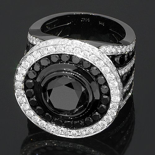 14K Gold PVD Plated Mens Diamond Ring  Black