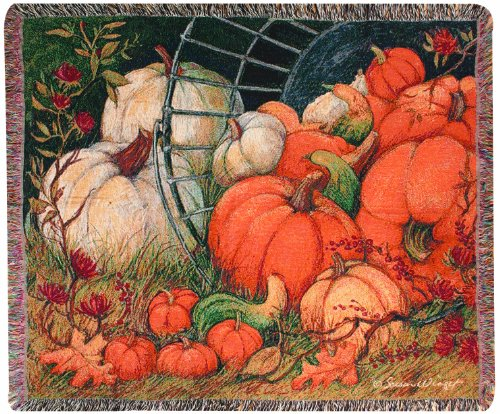 Manual Fall Collection 50 X 60-Inch Tapestry Throw, Pumpkin Garden By Susan Winget