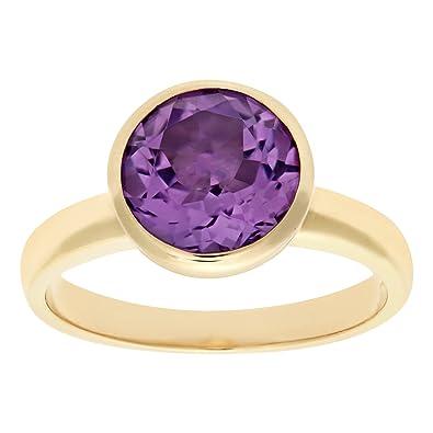 Naava Ladies 9ct Yellow Gold Amethyst Dress Ring