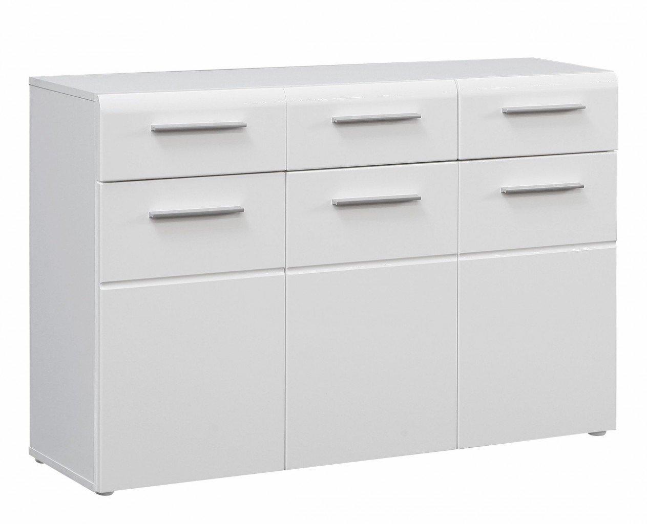 Kommode SLATE 3 Türen 3 Schubladen, Front weiß Hochglanz, von Forte günstig online kaufen