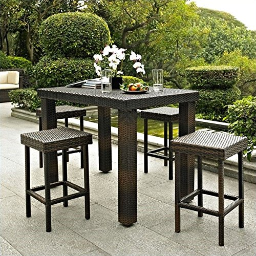 Crosley-5-Piece-Palm-Harbor-Outdoor-Wicker-High-Dining-Set-with-Table-and-Four-Stools