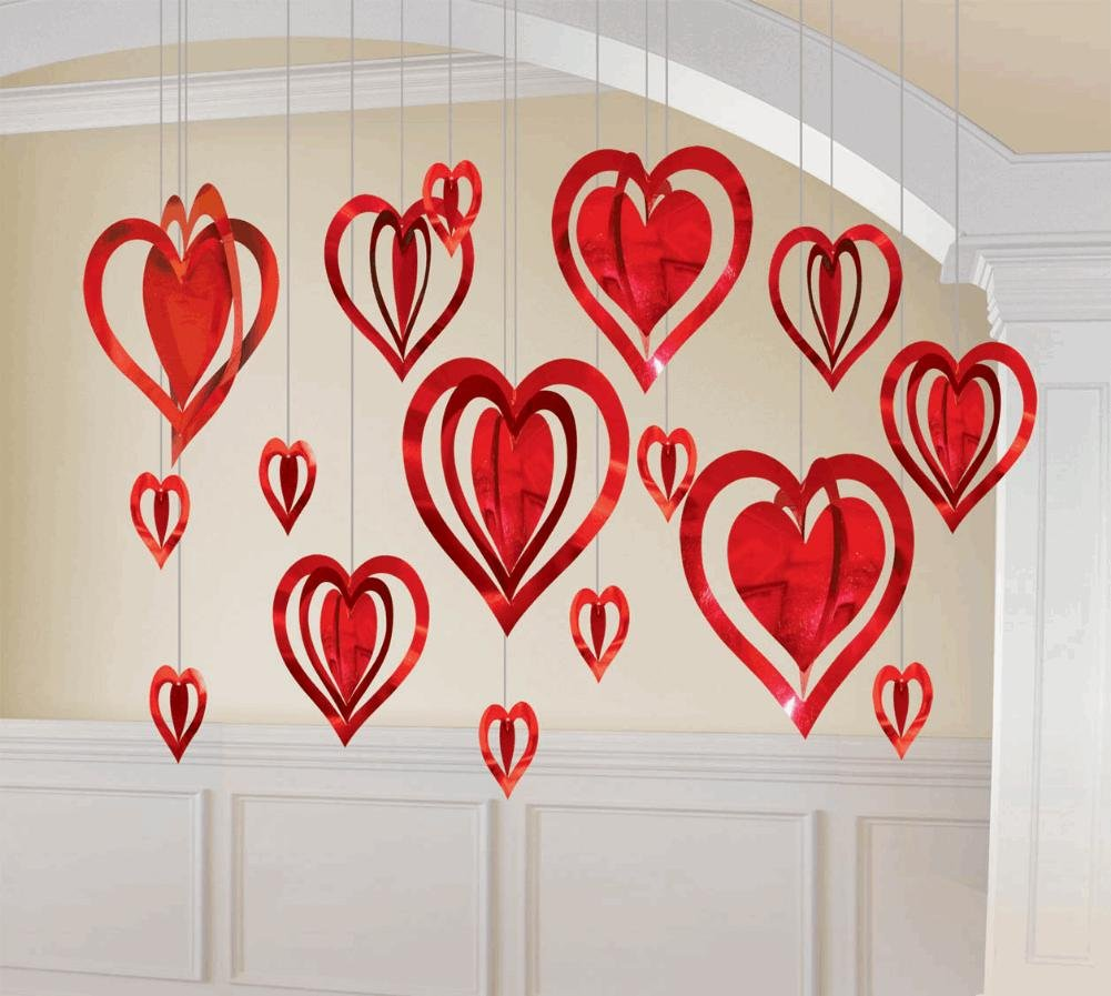 Valentines day party hanging hearts valentine 39 s day wikii for Heart decoration ideas