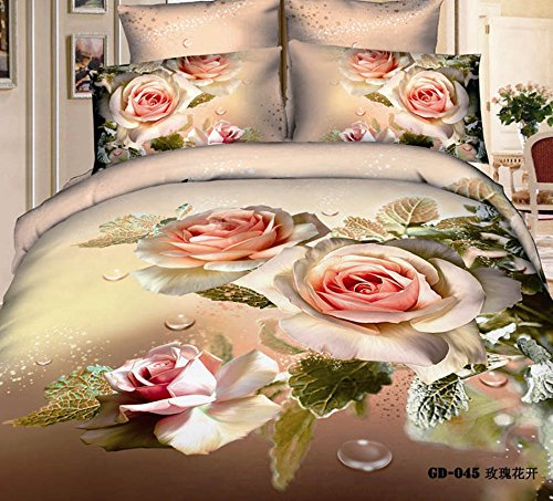 Queen King Size 100% Cotton 7-Pieces 3D White Red Roses Green Leaf Khaki Floral Prints Fitted Sheet Set With Rubber Around Duvet Cover Set/Bed Linens/Bed Sheet Sets/Bedclothes/Bedding Sets/Bed Sets/Bed Covers/ Comforters Sets Bed In A Bag (King) front-685730