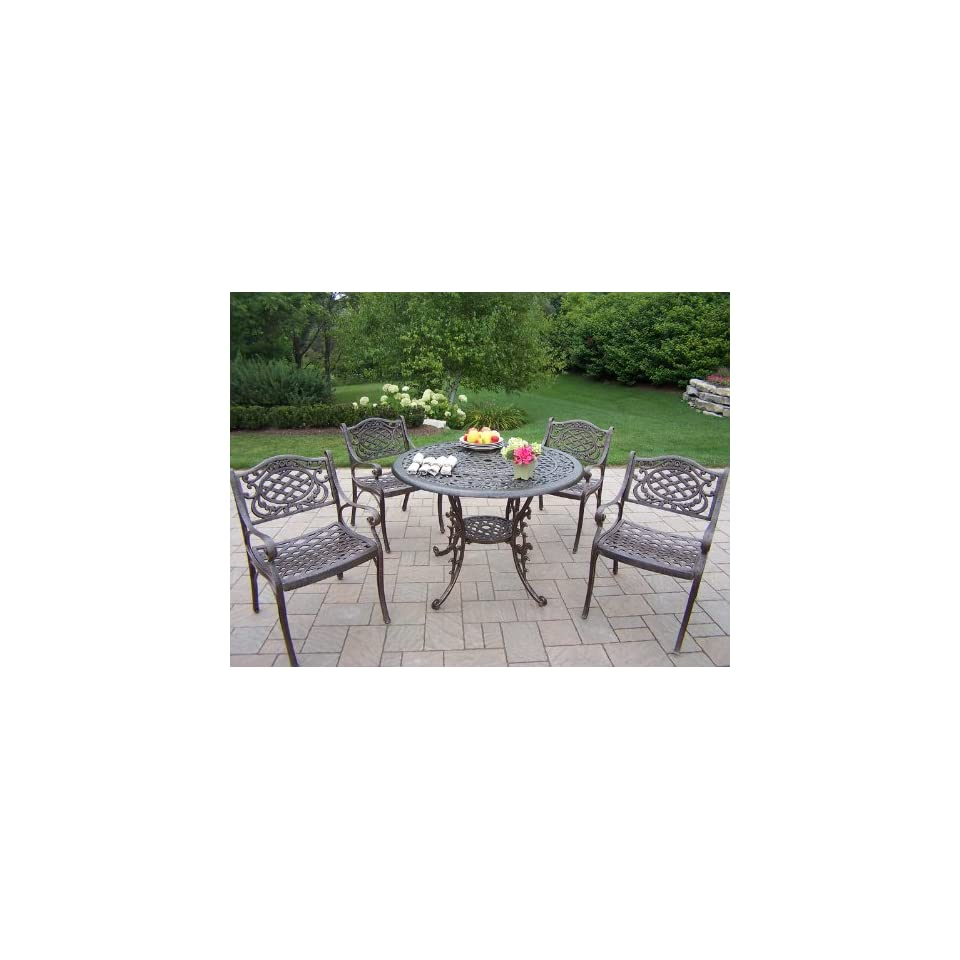 Oakland Living 5 Piece Mississippi Patio Dining Set in Two Finishes