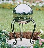 Plow & Hearth Garden Gazing Ball Scroll Stand - Powder Coated Iron - Black
