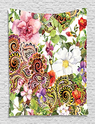 Paisley Design Floral Decor Blooming Flowers Digital Printed Tapestry Wall Hanging Wall Tapestry