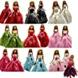 Barwa® 5 Pcs Handmade Fashion Wedding Party Gown Dresses & Clothes for Barbie Doll Xmas Gift (One Free Mini Dress )