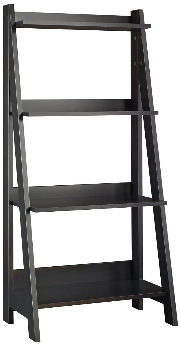 Bush Furniture Alamosa Ladder Bookshelf in Classic Black