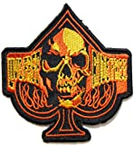 Live Free Ride Free Skull Ghost Ace Card Poker Flame Biker Polo Shirt jacket Patch Sew Iron on Embroidered Badge Sign