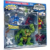 Marvel Superhero Squad 6 Piece Mini Figure Collector's Pack (Falcon Emma Frost Iron Man Spider-Man Mr. Fantastic...