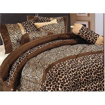 7 Piece Safari Zebra / Giraffe Animal Print Brown Micro Fur Comforter Set, Queen Size Bedding