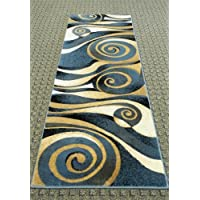 Modern Blue Runner Rug 32 In. X 7 Ft. # S 258