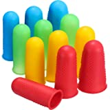 Frienda 12 Pieces Hot Glue Gun Finger Caps Silicone Finger Protectors for Hot Glue Wax Rosin Resin Honey Adhesives Scrapbooking Sewing in 3 Sizes (Multicolor) (Color: Multicolor)