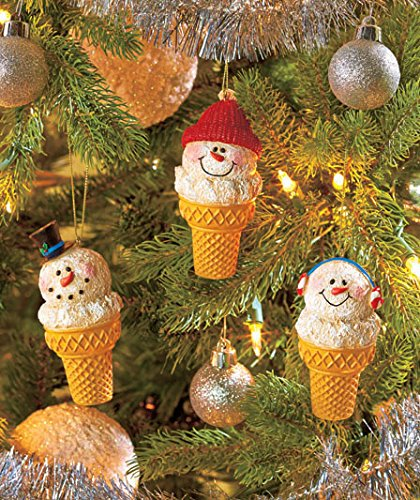 Set Of 3 Christmas Whimsical Cute Snowman Ice Cream Snow Cone Ornaments Hanging Tree Holiday Decor