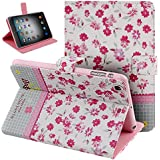 Case for iPad Mini 3,Cover for iPad Mini,Case for ipad Mini with Retina Display,Leather Case for iPad Mini,Flip Case for iPad Mini, Nsstar Butterfly Fairy and Flower Inlaid Shiny Glitter Diamond Pu Leather Flip Protective Case Cover with Stand for Apple Ipad Mini / Ipad Mini 2 / Ipad Mini with Retina Display/ iPad Mini 3 (2014 Release) (Mini Flower #4)