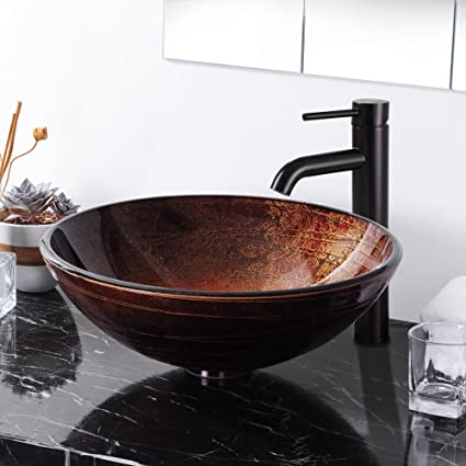 Tempered Bathroom Glass Vessel Sink & Oil Rubbed Bronze Faucet Drain Combo Set