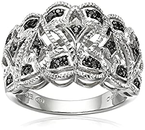 Sterling Silver Black Diamond Ring (1/10cttw, I-J Color, I2-I3 Clarity), Size 7