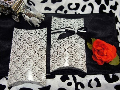 100 pcs Stylish Pillow GIFT Boxes - Black and White