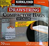 Kirkland Compactor Bags, 18 Gallon, Smart Fit Gripping Drawstring, 70 ct