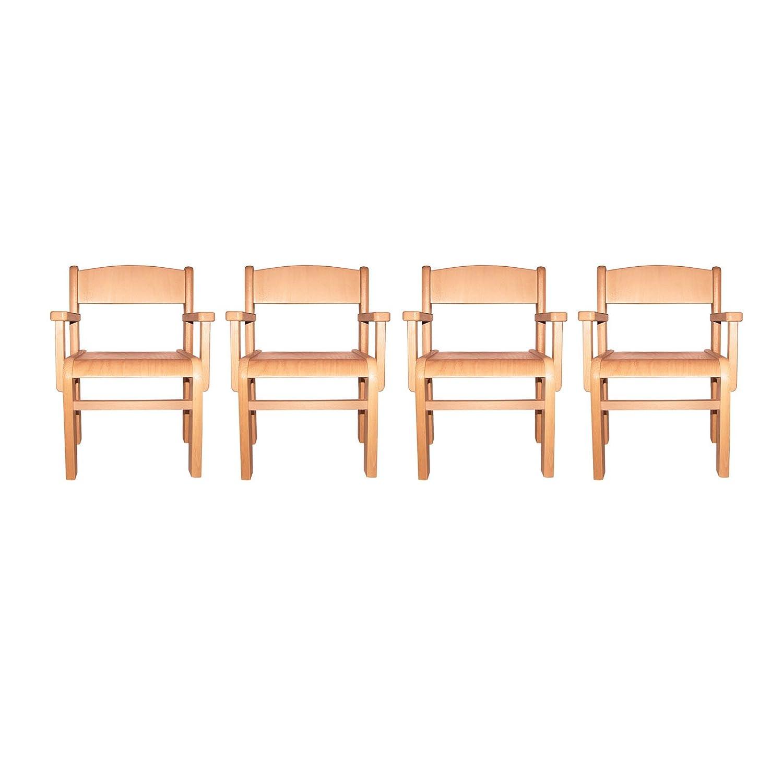 Childrens Furniture Solid Beech Wood Set of Four Children's Chairs with Arm Rests Natural Varnish günstig bestellen