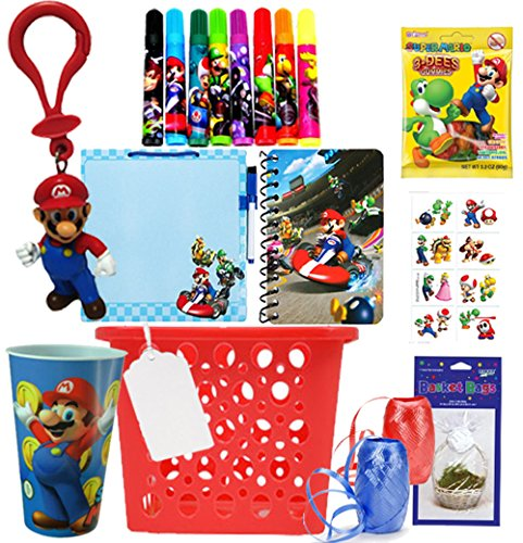 Nintendo Super Mario Brothers Inspired 15pc All inclusive Pre-Filled Gift Basket. Perfect for Valentine's Day, As Easter Basket, Christmas Gift or Special Occassion. Pre-Wrapped & Ready to Give!