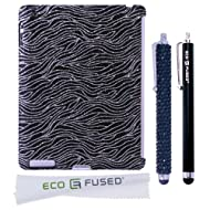 BLING IPad 3 Zebra (Black) Sparkling / One (Black) Stylus / One (Black) Stylus - ECO-FUSED Microfiber Cleaning...
