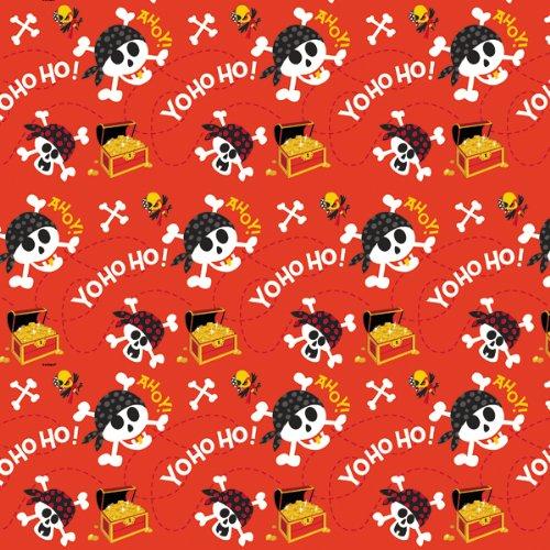 "Printed Gift Wrap 30"" Wide 5 Foot Roll-Pirate Fun"