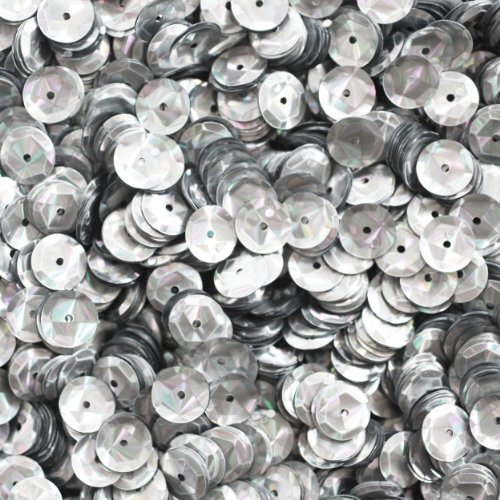 8mm Cup Facet Round SEQUIN PAILLETTES ~ Silver PRISM MULTI Reflective METALLIC ~ Loose sequins for embroidery, bridal, applique, arts, crafts, and embellishment. Made in USA