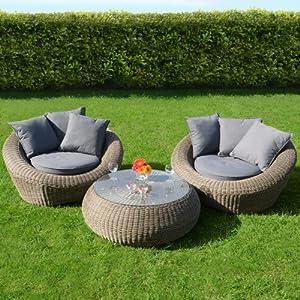 Genoa 3pc Wicker Rattan Garden Patio Coservatory Furniture