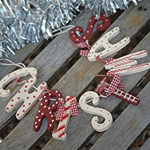 Chic shabby christmas wooden garland red white vintage for Scritta christmas in legno