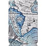 "Vintage WORLD-MAP Ultra Slim Lightweight PU Leather Folio Flip Case Flip Cover For SamSung Galaxy Tab A 10.1"" Inch SM- T580 SM- T585 SM- T587 Flip Cover Case (Map - Blue)"