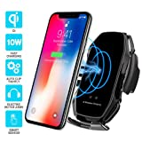 Wireless car Charger,EERIE A5 Smart Sensor Wireless Car Charger Mount,QI 10W Automatic Clamping Fast Charging Holder Compatible with iPhone 11/Xs/Xs Max/XR/X/8/8 Plus,Samsung Note 9/S9/S9+/S8(Black) (Color: A5-Black)