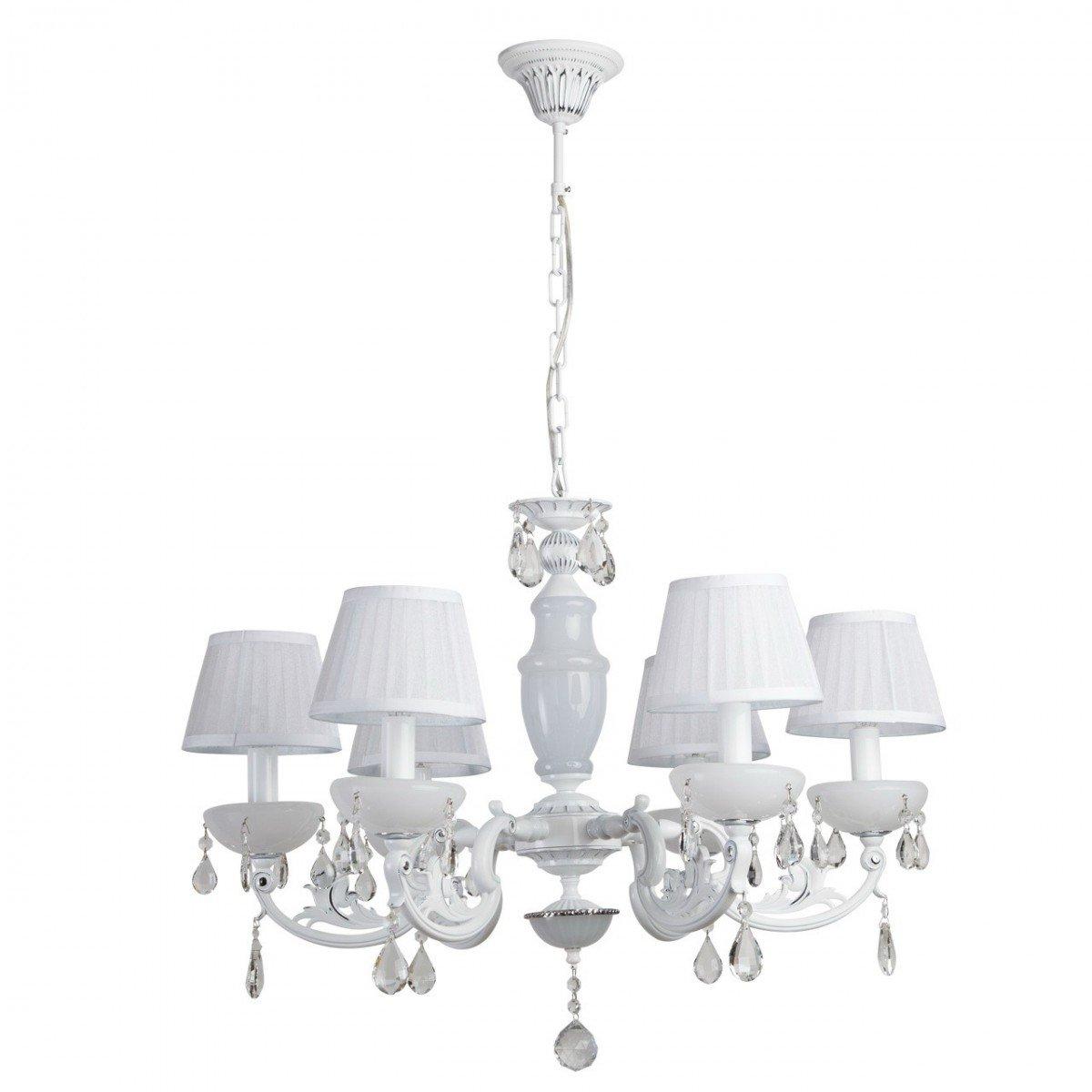 Deckenleuchte Deckenlampe Lampe Leuchte Elegance Style, Ø 70 cm, Weiß / Chrom mit Kristallen, 6 x E14 max. 60 W