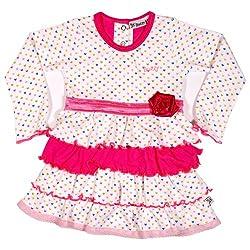 Buzzy Baby Girls' Cotton Long Sleeve Layered Dress (SAFA_Pink_3-6M)